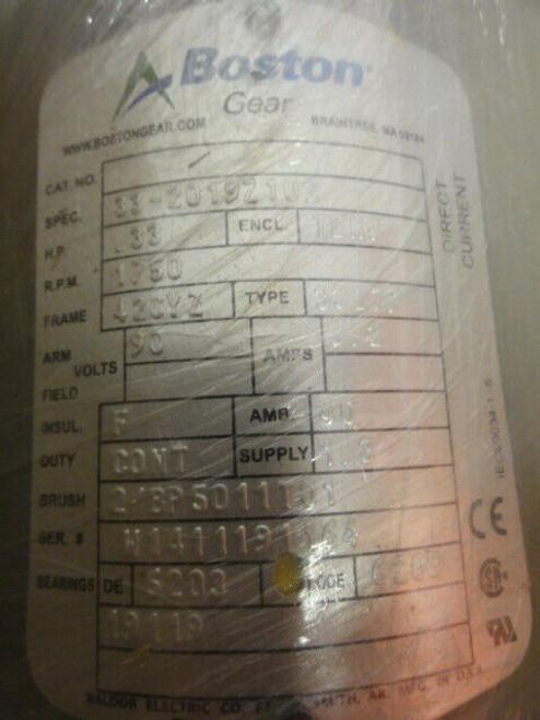 Boston Gear Model 33-2019Z102 Permanent Magnet DC Motor, .33hp New in Box