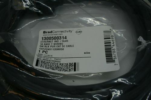 Brad Connectivity 1300500314 Ethernet Ind. / RJ45 10 Base T Wiring 5M BLK Cat 5E