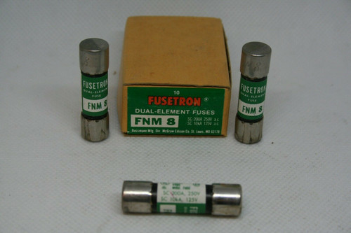 BOX - (10) Bussmann Fusetron FNM-8 Dual Element Fuses SC 200A 250V, SC 10kA 125V