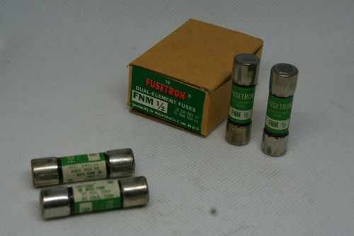 BOX- (10) Bussmann Fusetron FNM1/2 Dual Element Fuses SC 35A 250V, SC 10kA 125V