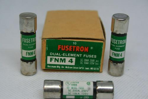 BOX - (10) Bussmann Fusetron FNM-4 Dual Element Fuses SC 200A 250V, SC 10kA 125V