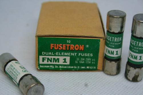 BOX - (9) Bussmann Fusetron FNM-1 Dual Element Fuses SC 235A 250V, SC 10kA 125V