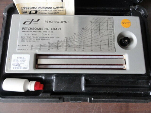 Cole-Parmer Model 3312-20 Psychro-Dyne Psychrometer with Case