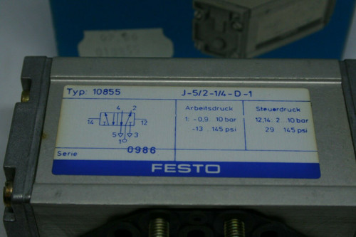 Festo Type 10855 Pneumatic Pilot Operated Valve J-5/2-1/4-D-1