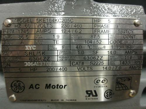 GE 5KE184KC205C AC Motor 5HP, 230/460V 60Hz 3PH, Fr: 184TCY, 1745RPM, 12.4/6.2A