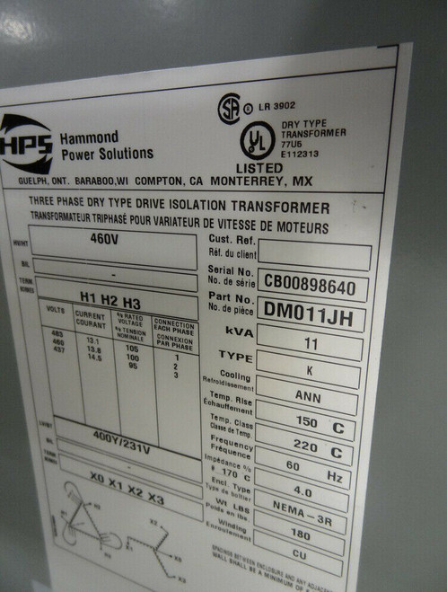 Hammond Power 11-KVA, DM011JH, 3-Phase Dry Type Drive Isolation Transformer