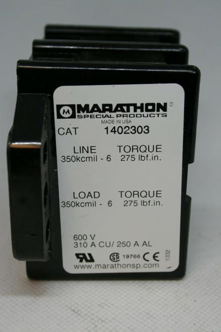 MARATHON 1402303 TERMINAL BLOCK 350kcmil - 6, 275 lbf.in. 600V 310A CU / 250A AL