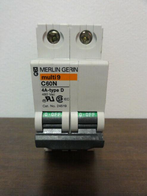 MERLIN GERIN C60N CIRCUIT BREAKER - multi 9 4A type D 480VAC