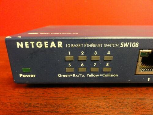 NETGEAR SW108 10 BASE-T ETHERNET SWITCH 8 PORT