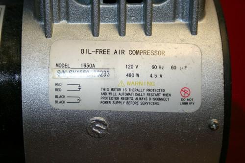 Oil-Free Air Compressor Model YW400BL w/ 1650A Compressor, 120V 60Hz 480W 4.5A
