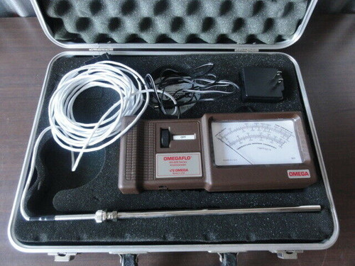 OMEGA HH-600 SERIES OMEGAFLO ANEMOMETER METER WITH PROBE, CASE & ADAPTER