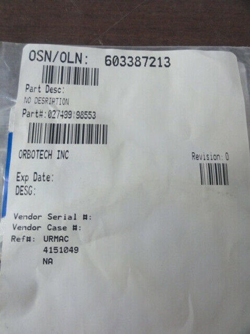 Orbotech Inc. P/N 027499:98553 Timming Belt, 2.03p. 144ZB. 1/4w. Npn, I# 027499