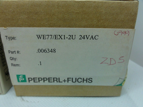 PEPPERL+FUCHS MODEL WE77/EX1-2U SAFETY RELAY SWITCH ISOLATOR, 24VAC *NEW*