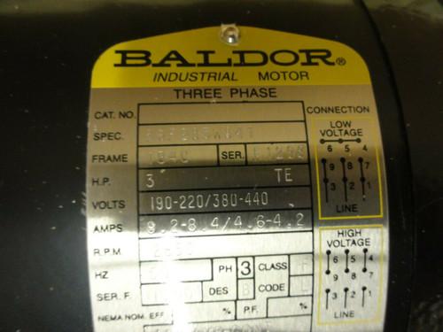 Pump w/ Baldor Motor 3HP 2850RPM 190-220/380-440V, Spec 36F285W841 FR: 184C