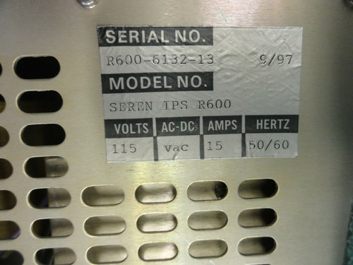 Seren IPS R600 RF Generator 600W, 115V, 15Amp, 50/60Hz - See Photos / More Info