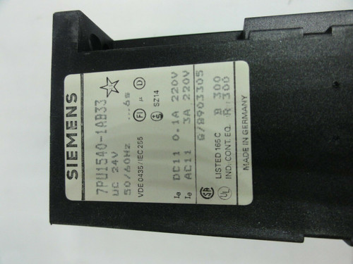 Siemens 7PU1540-1AB33 6s Time Relay *NEW*