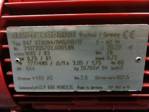 Sew Eurodrive Type S47 DT0N4/BMG/HR/TF GearMotor - r/min 1680/83, 277/480V