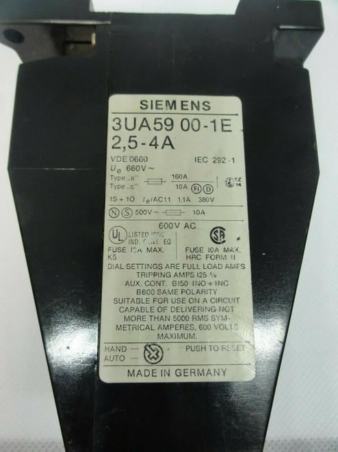 Siemens 3UA59 00-1E Overload Relay, 2.5-4 Amp