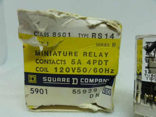 Square D Class 8501 Type RS14 General Purpose Relay,14 Blade Mini, 5A, 4PDT NEW