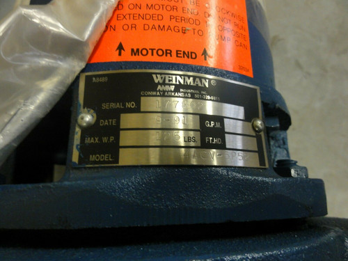 WEINMAN Model 4ACV-5PS2 PUMP w/ MagneTek Century H155 Jet Pump Duty Motor 1/2HP
