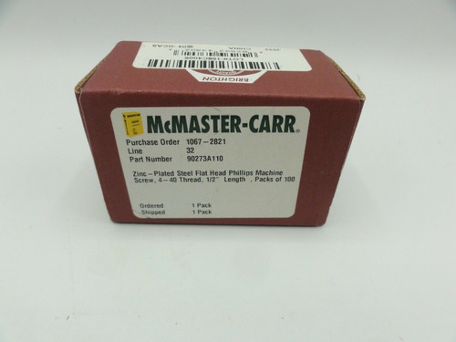 McMaster Carr 90273A110 Qty of 100 Zinc Plated Steel Flat Head Phillips Screws