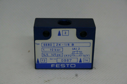 Festo Type 6680 ZK-1/8-B Logic Component Valve, 1-10 bar / 145 psi