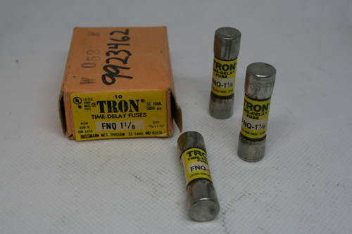 Box of (10) Bussmann TRON FNQ 1 1/8 Time Delay Fuses