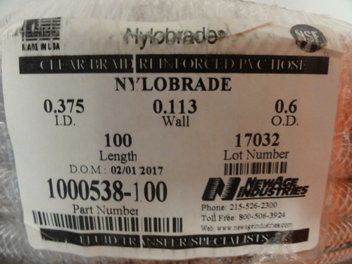 Nylobrade .375 ID .113 Wall .6 OD 100ft Length Clear