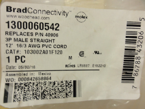 Brad Connectivity 103002A01F120 12' 16/3 AWG PVC Cord
