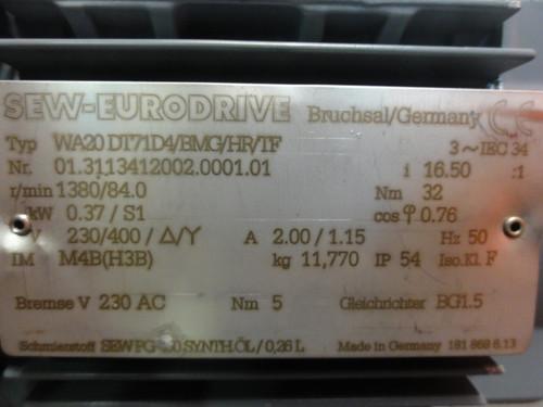 Sew-Eurodrive WA20DT71D4 Electric Gear Motor