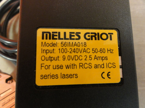 Melles Griot Model 56IMA018 Power Adapter, Output: 9.0VDC, 2.5 Amps