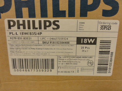 Case of (25) Philips PL-L18W/835/4P Fluorescent Tube Lamp Bulbs, Individually Boxed