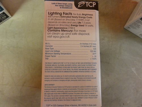 (6) TCP 21314 Compact Fluorescent Bulbs, 800 Lumens