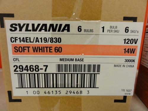 Case of (6) Sylvania CF14EL/A19/830 Soft White 60 Compact Fluorescent Bulbs