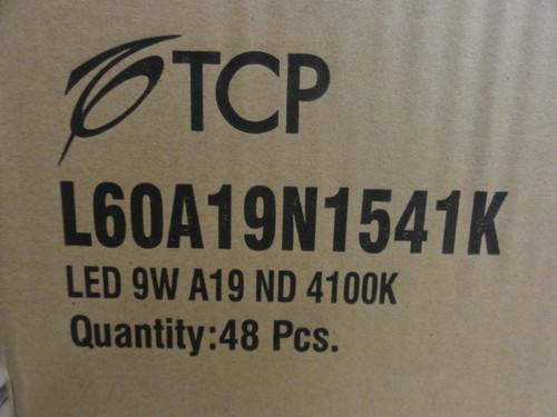 Case of (48) TCP Model L60A19N1541K LED Bulbs, 9W, A19, ND, 4100k
