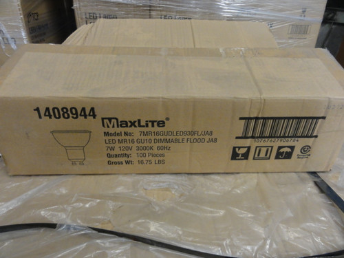 Case of (100) MaxLite 7MR16GUDLED930FL/JA8 LED Bulbs, 50/7W Replacement, 500 Lumens