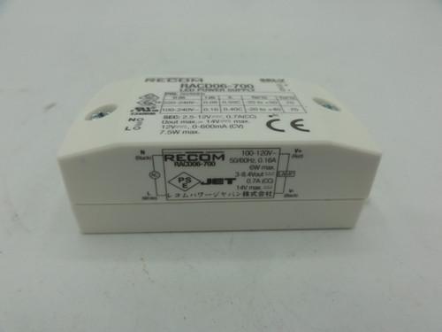 RECOM LED Power Supply RACD06-700, 100-240V, 600mA