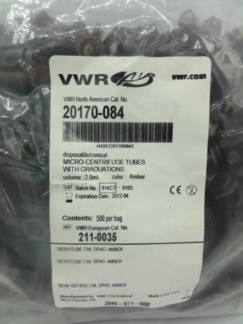 VWR 20170-084 Micro-Centrifuge Tubes w/ Graduations, Amber Color, 2.0 ml, 500 PK