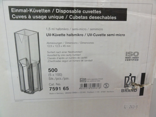 BrandTech 759165 UV-Cuvette Semi-Micro, 500 Pack , 1.5 ml