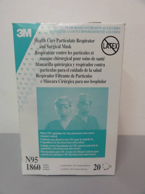 (2) 3M 1860 N95 Particulate Respirator and Surgical Mask, Case of 20