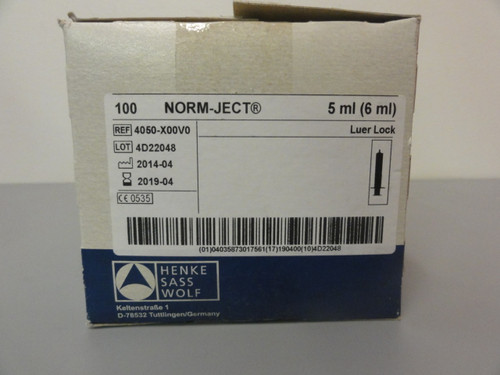 Norm-Ject 4050-X00V0 Disposable Syringe, Luer Lock, 5 ml, 100 Pack