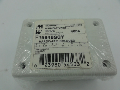 Hammond Manufacturing 1594BSGY Electrical Enclosure w/ Hardware
