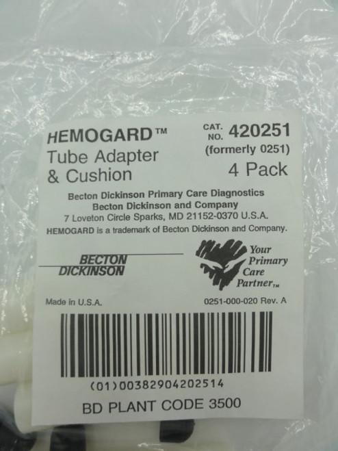 Becton Dickinson 420251 Hemogard Tube Adapter & Cushion, 4 Pack