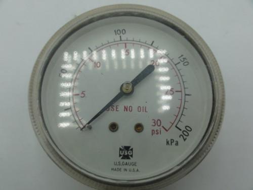 U.S. Gauge Brass 30 PSI Pressure Gage