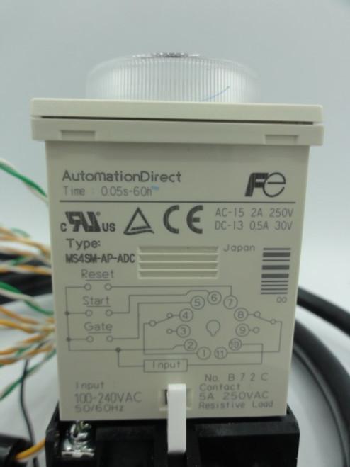 Fuji Electric MS4SM-AP-ADC Super Timer w/ Fuji TP411X Relay Base Socket
