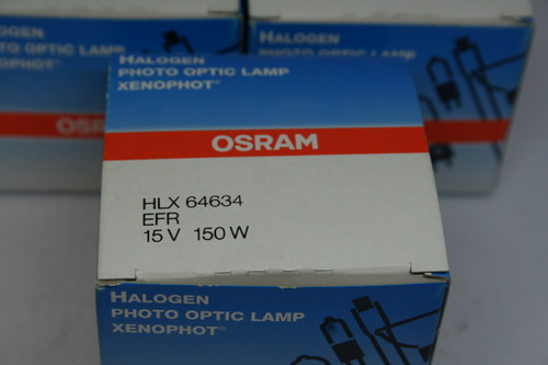 (3) OSRAM HLX 64634 EFR 15V 150W Photo Optic Lamps