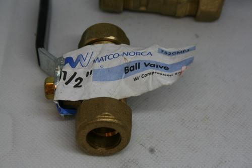 """(2) Matco-Norca 752CMP3 Ball Valves, 1/2"""""""