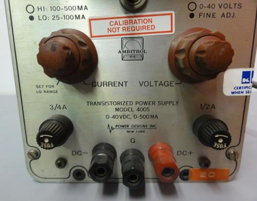 Power Designs Inc. 4005 Transistorized Power Supply, 0-40 VDC, 0-500 MA