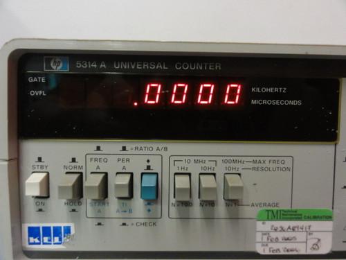HP 5314A Universal Counter, Options: 001 TCXO, 002 Battery