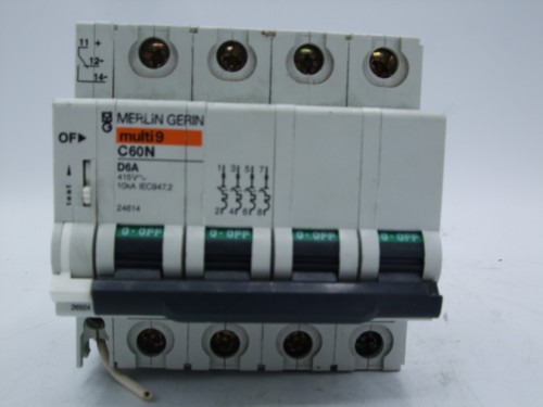 Merlin Gerin C60N D6A 4-Pole Circuit Breaker with 26924 Auxiliary Switch